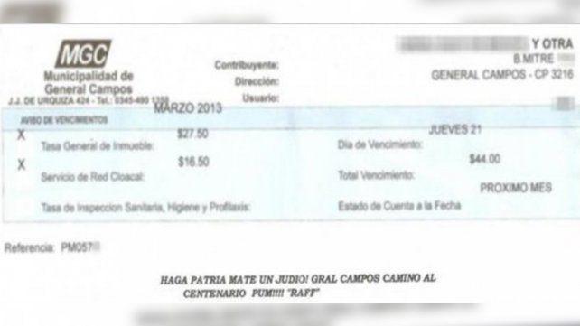 Juzgarán a ex funcionaria de General Campos por colocar un mensajes antisemita en una boleta