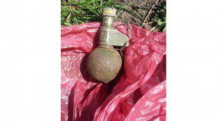 Encontraron una granada dentro de una bolsa de nylon