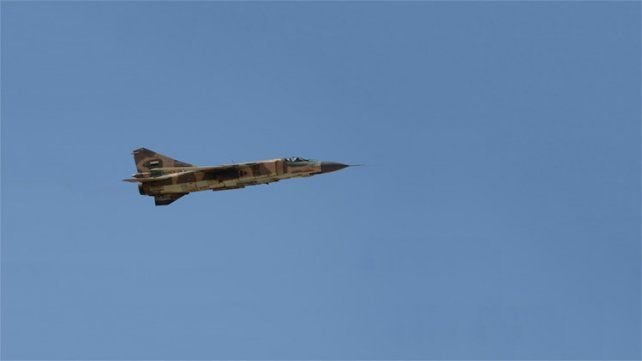 Un MiG-23 de la Fuerza Aérea siria durante una misión cerca de la localidad de Al-Qaryatayn