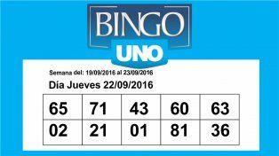 Controlá los números del Bingo UNO