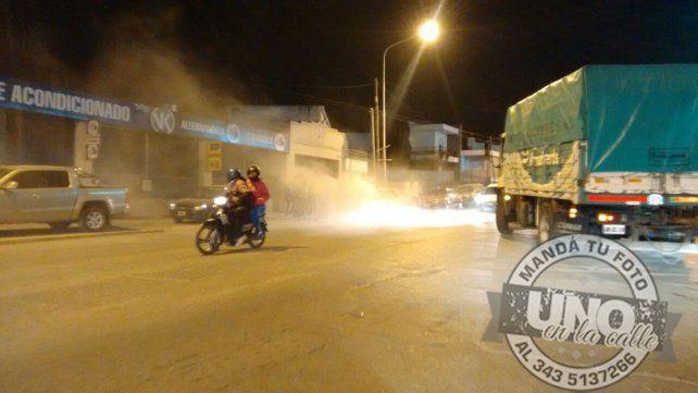 Un auto se incendió en calle Almafuerte
