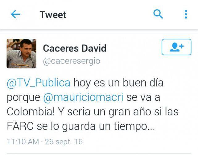 Concejal paranaense pidió en Twitter que las FARC secuestren a Mauricio Macri