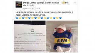 La pasión al extremo: Un fanático de Boca le puso un insólito nombre a su hijo
