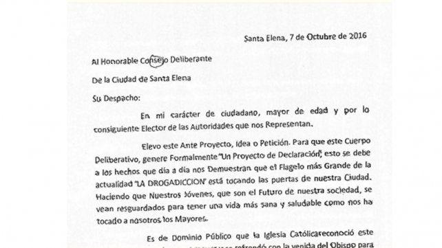 Escrito. Fue presentado ante el CD de la localidad entrerriana.