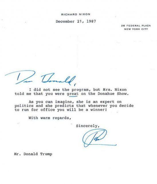 La curiosa carta de 1987 en la que Richard Nixon predice la victoria de Donald Trump en las elecciones de EE.UU.
