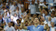 Del Potro celebra el punto obtenido para empardar la serie ante los croatas.