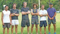 Uranga al centro, junto a Gerardo Virjan, Francisco Fariña, Francisco Nin, Tulio Barrachini y Juan Manuel Garzón.