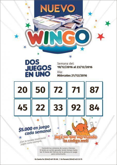 Estos son los números del Wingo