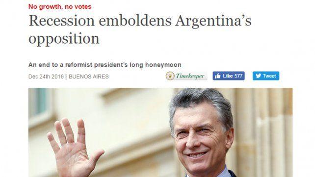 Para The Economist, se terminó la luna de miel con el gobierno de Macri