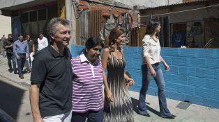 Este sábado Macri visitó Los Piletones.
