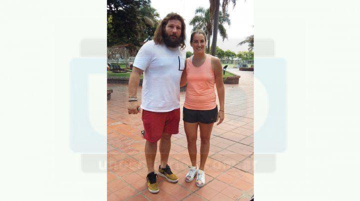 Con Castro. Florencia se encontró con el jugador de rugby Martín Castrogiovanni en una entrevista en el programa El Pelotazo.