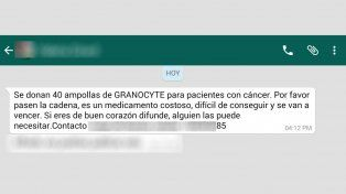 Alertan por falso mensaje de donación de medicamento para el cáncer