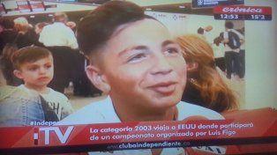 En la TV. El concordiense fue entrevistado por el canal Crónica Televisión antes de viajar rumbo a los Estados Unidos.