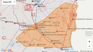 Alerta meteorológico anuncia fuertes tormentas para una parte de Entre Ríos