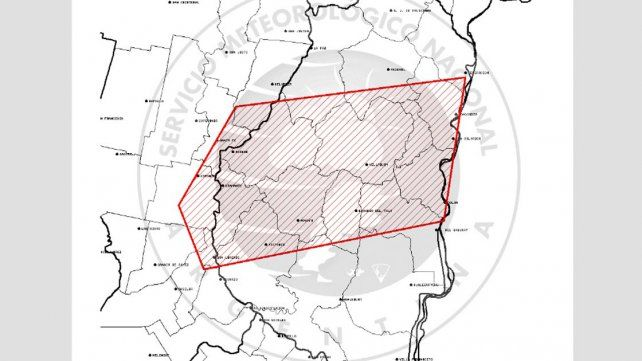 Tormentas fuertes con ocasional caída de granizo podrían afectar la zona sur y centro de Entre Ríos
