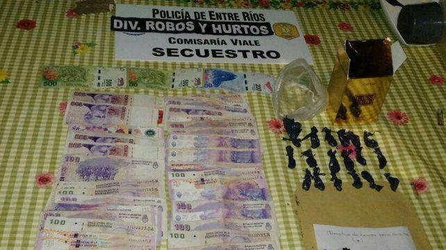 Secuestraron dinero y droga en Viale