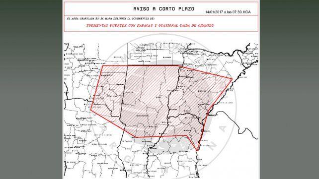 Rige un alerta por lluvias y tormentas intensas para parte de Entre Ríos