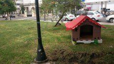 La cucha solidaria de la plaza Alvear. FotoUNO. Juan Manuel Kunzi.