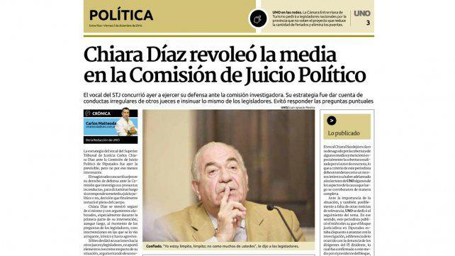 Estrategia. Inicialmente Chiara Díaz embistió contra los legisladores y otros miembros del Superior.