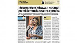 Mizawak. La mayoría del PJ en Diputados entendió que no había motivos para juzgarla