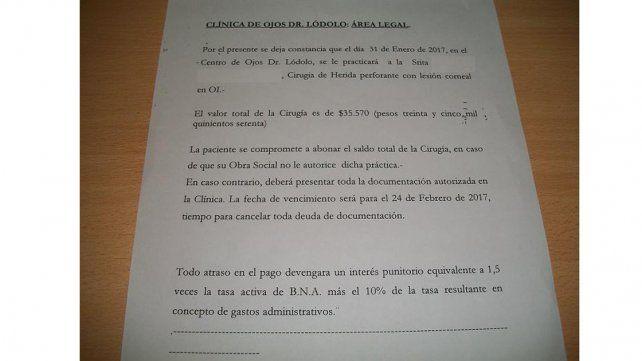 Compromiso de pago por la cirugía practicada en Paraná