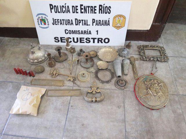 Encontraron elementos robados del cementerio de Paraná