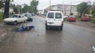 Motociclista lesionado en calle Zanni