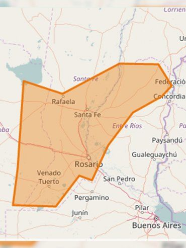 Alerta por tormentas fuertes con ráfagas y ocasional caída de granizo en Entre Ríos