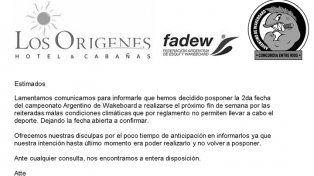 Suspendieron el argentino de wakeboard en Concordia