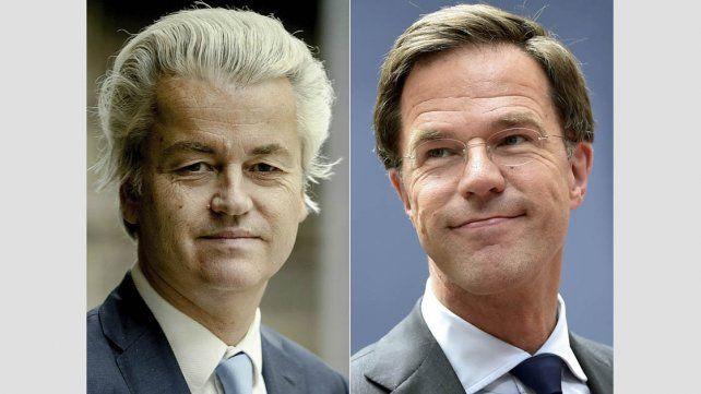 Wilders (izquierda) perdió frente a Rutte (derecha).