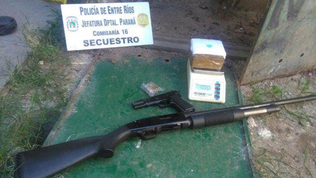 Narcomenudeo en Paraná: Incautaron armas, drogas y detuvieron a seis personas