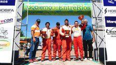 El podio de los ganadores de la Clase A6 y también de la clasificación general de la primera fecha.