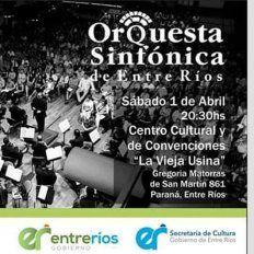 La Orquesta Sinfónica de Entre Ríos, con entrada libre y gratuita, en La Vieja usina