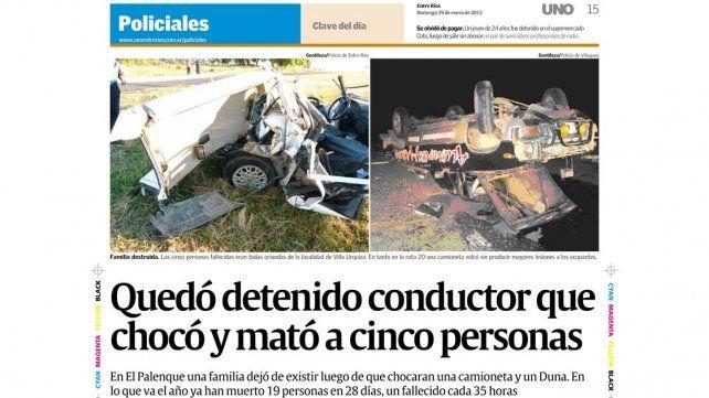 Tragedia. La sexta víctima murió cuatro meses después producto de las heridas que padeció en el choque ocurrido en la ruta 12.