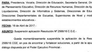 El CGE suspendió oficialmente la resolución que dispone la carga de la asistencia de los docentes
