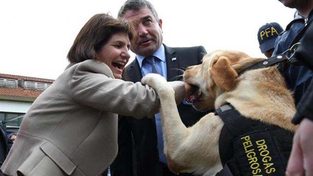En la presentación de la Policía Federal un perro antinarcóticos se abalanzó hacia la ministra de Seguridad