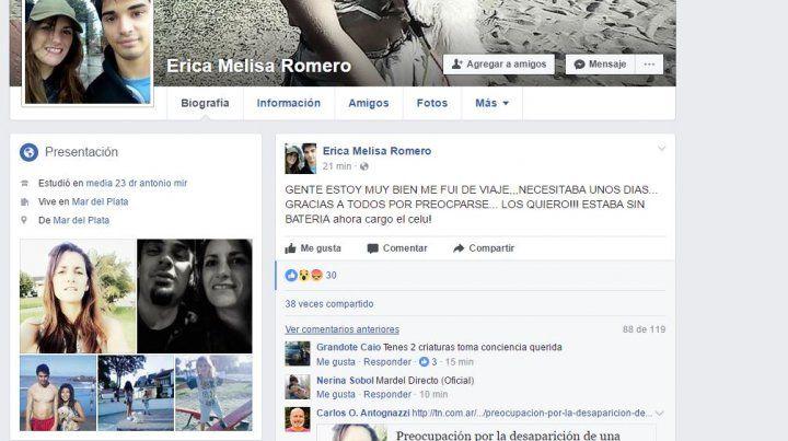 La extraña publicación en la cuenta de Facebook de Erica Romero