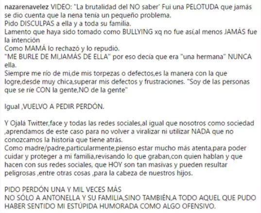 Nazarena Vélez se disculpó por su video Soy Anto: No me di cuenta que la nena tenía un pequeño problema