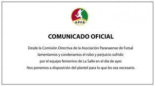 Asociación Paranaense de Futsal emitió un comunicado tras el robo a La Salle