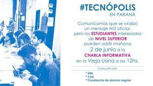 Desmienten un mensaje viral sobre becas para trabajar en Tecnópolis