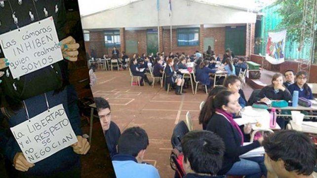 Alumnos se niegan a entrar a un aula porque pusieron cámaras y micrófonos