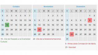 Feriados 2017: el calendario para lo que resta del año