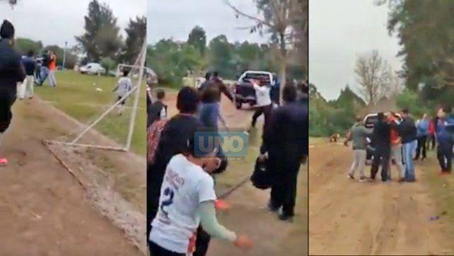 En dos de las tres imágenes capturadas del video filmado con un celular aparecen niños.
