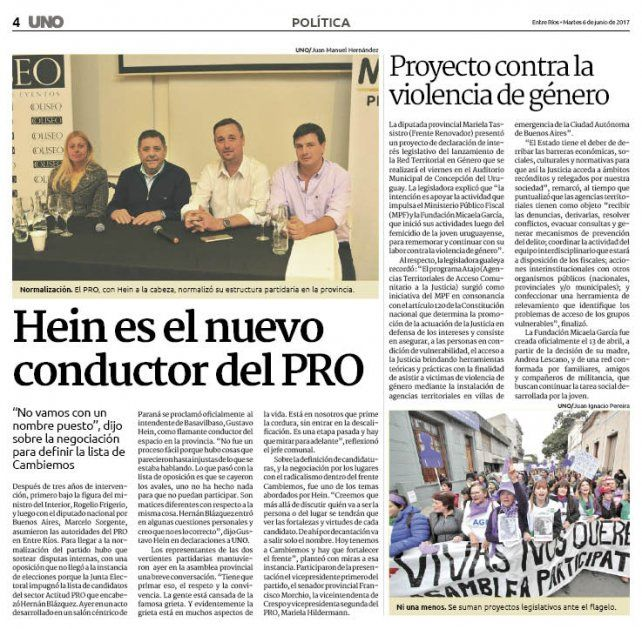Gustavo Hein es el nuevo conductor del PRO en Entre Ríos