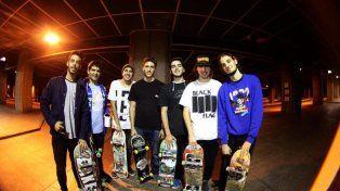 En Londres con amigos del skate.