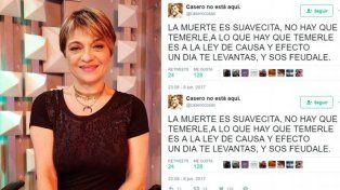 Marcela Feudale contestó al tuit de Alfredo Casero: Lamento que esté en guerra con el mundo, una pena