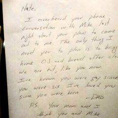 Escuchó a su hijo planeando contarle que era gay e hizo algo increíble