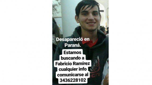 Un joven de Paraná se fue de su casa y su familia lo busca desesperadamente