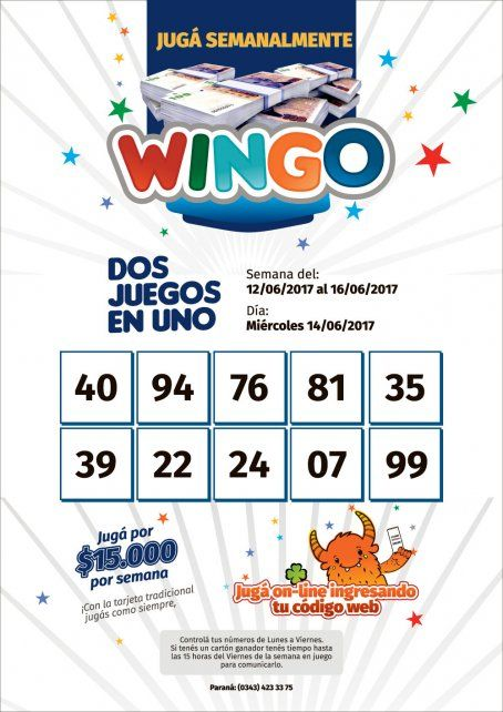 Wingo: Semana del 12 al 16 de junio