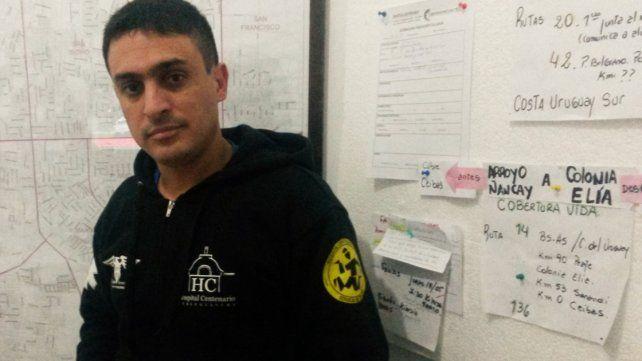 Nicolás Saucedo es operador del 107 en Gualeguaychú